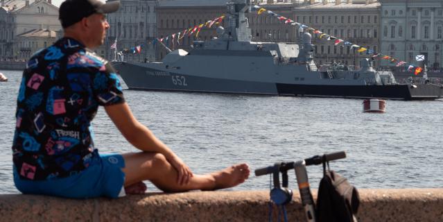 Репетиция военно-морского парада в Петербурге.