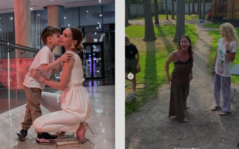 Наталья с сыном (слева), супруга футбольного арбитра (справа). Фото Instagram: @knyaginya