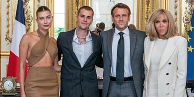 Джастин Бибер и Хейли Бибер с Эммануэлем Макроном и его супругой.