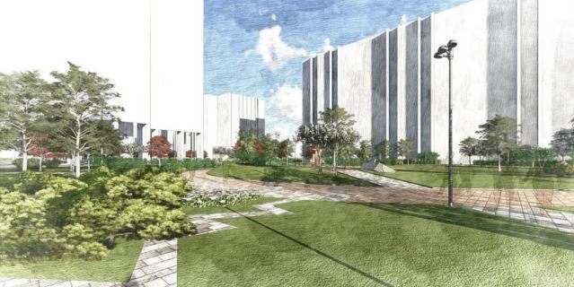 Визуализация нового сквера на Васильевском острове.
