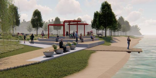 Проект будущего парка на набережной реки Глухарки в Петербурге.