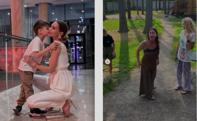 Наталья с сыном (слева), супруга футбольного арбитра (справа). Фото  Instagram: @knyaginya.