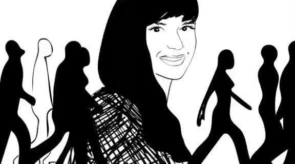 Девушка делает преимущественно черно-белые мультфильмы.
