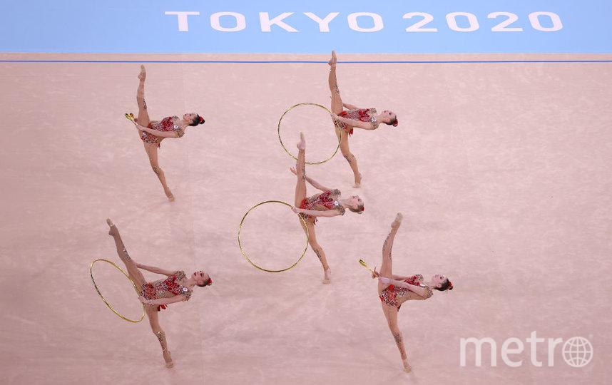 Российские гимнастки в финальном выступлении в групповом многоборье. Фото Getty