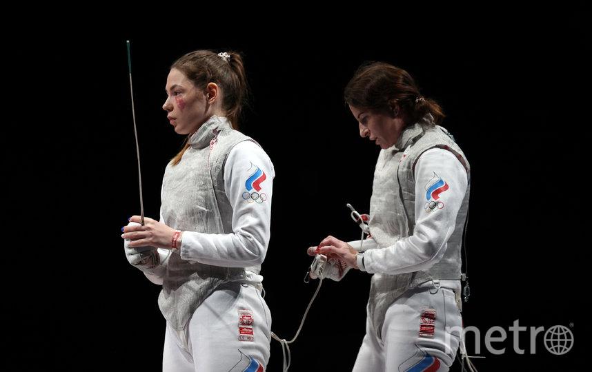Марта Мартьянова и Инна Дериглазова во время командного финала на Олимпиаде в Токио. Фото Getty
