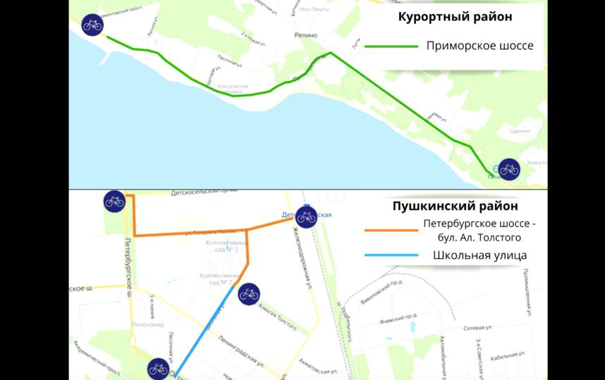 Маршруты новых велодорожек. Фото gov.spb.ru.