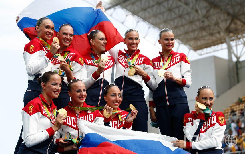 На пьедестале в Рио можно было стоять с российским флагом. Фото Getty
