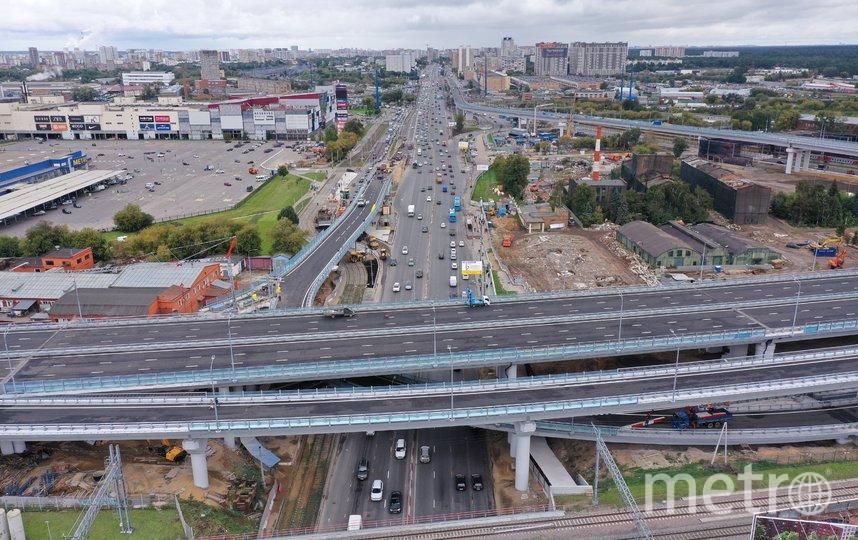 Вид с квадрокоптера на Северо-Восточную хорду в районе проспекта Мира и Ярославского шоссе накануне открытия. Фото Агентство «Москва»