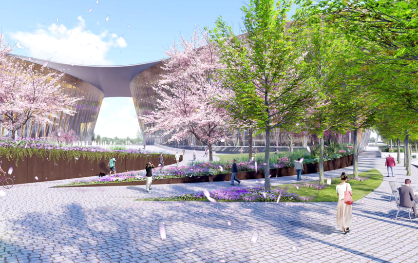 Проект городского пространства, которое появится на Охтинском мысе в Санкт-Петербурге. Фото Nikken Sekkei