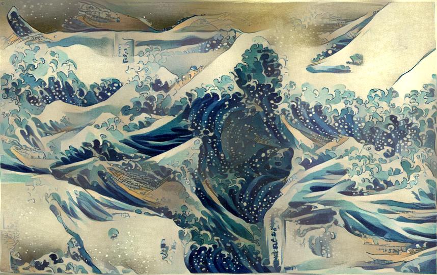 Серфингист, нарисованный в манере японского классика Хокусая.