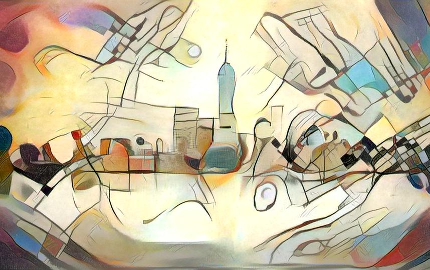 Так Кандинский мог увидеть панораму Нью-Йорка.