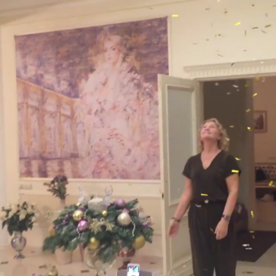 Скриншот с видео в Instagram Волочковой.