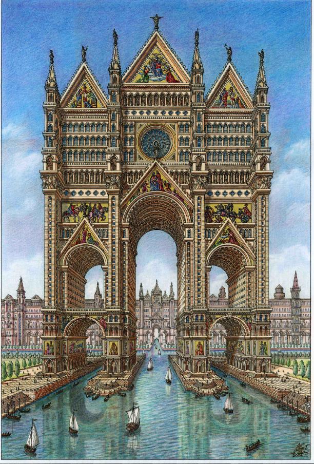 Кафедральный собор-небоскрёб на пересечении каналов города. Фото Артур Скижали-Вейс.