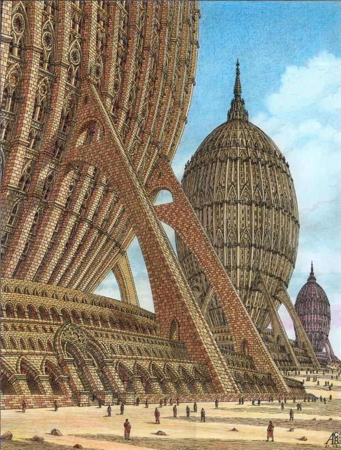 Жилой комплекс в виде яйцеобразных зданий в неоготическом стиле. Фото Артур Скижали-Вейс.