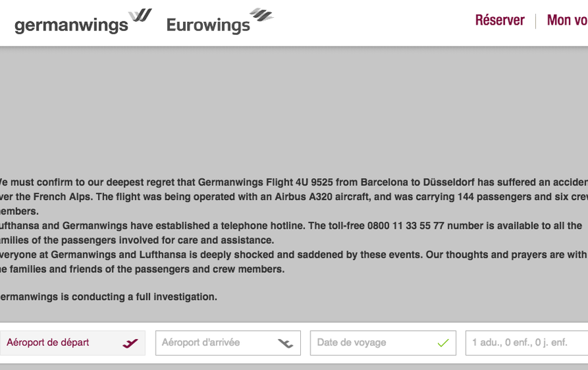 Скриншот germanwings.com.