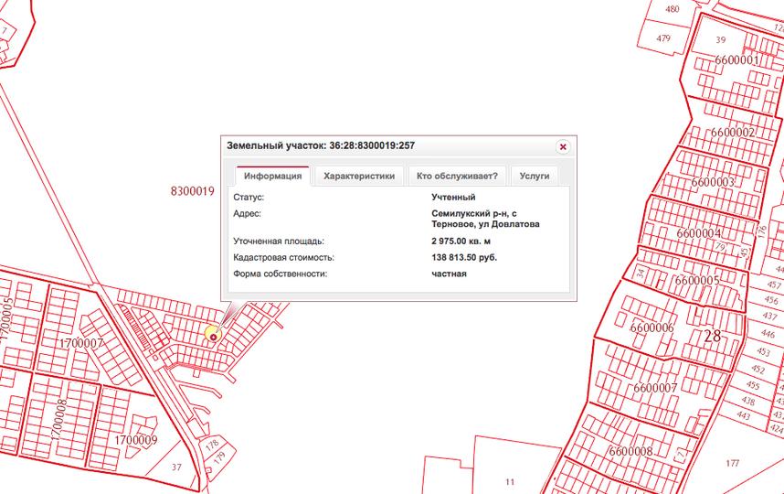 скриншот с сайта maps.rosreestr.ru.