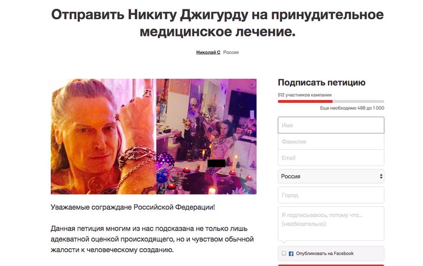 Петиция за принудительное лечение Никиты Джигурды. Фото Скриншот change.org
