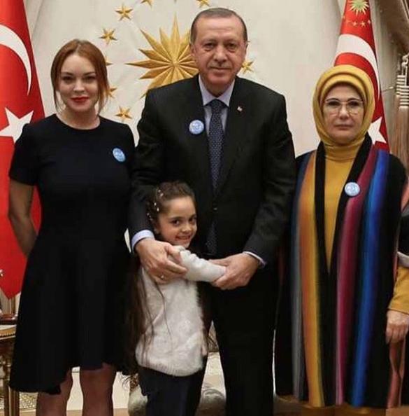 Линдси Лохан с президентом Турции и его женой. Фото Instagram Линдси Лохан