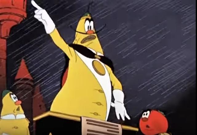 Пользователи Сети в связи с нововведением вспомнили сцену из мультфильма «Чиполлино», где Лимон вводит плату за дождь. Фото скриншот YouTube