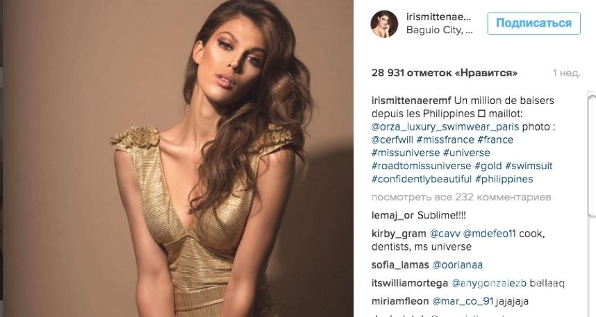 """Ирис Миттенар - 24-летняя гражданка Франции, которую выбрали самой красивой девушкой планеты на конкурсе """"Мисс Вселенная""""."""
