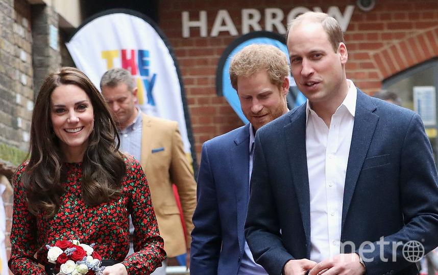 Герцогиня Кэтрин, принц Гарри и принц Уильям. Фото Getty