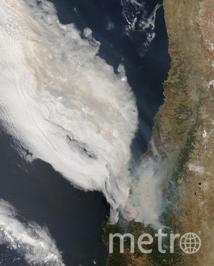 Лесные пожары в Чили. Фото NASA/Goddard