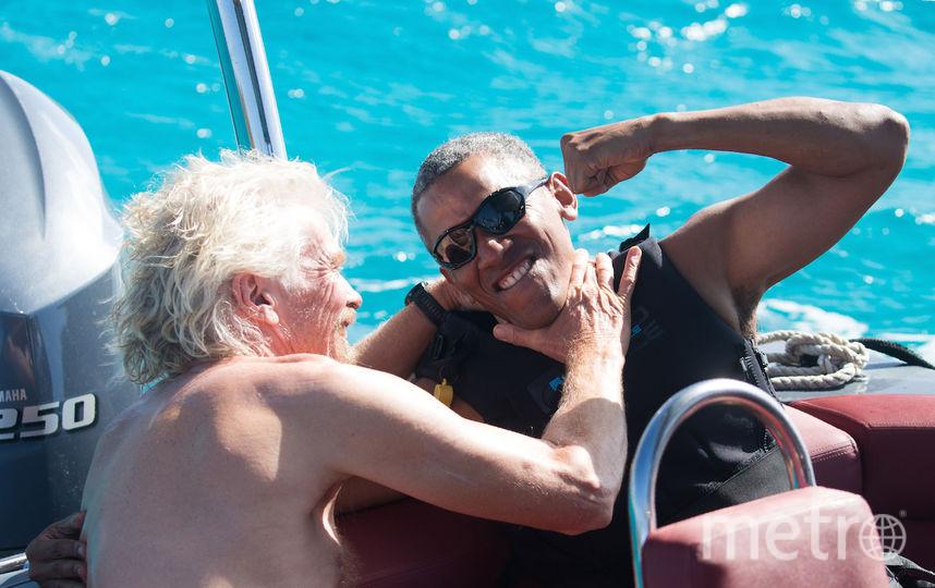 Барак Обама и Ричард Брэнсон на Виргинских островах. Фото AFP