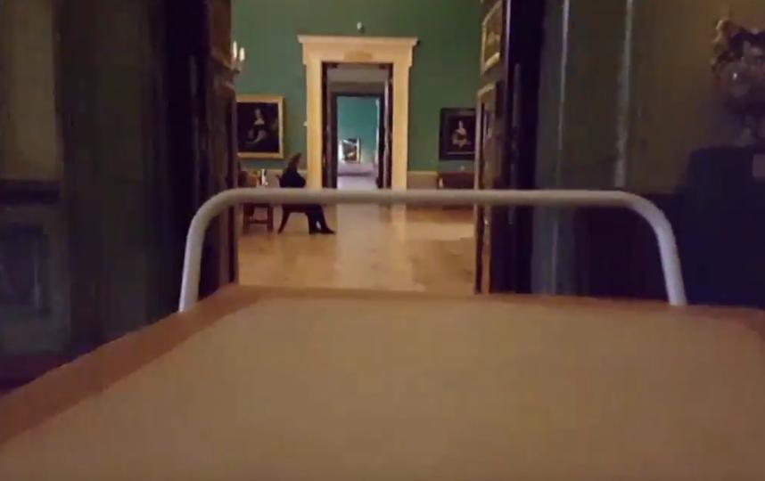 Реставратор Эрмитажа повторил гонки из компьютерной игры в музее. Фото Скриншот/YouTube: Женя Злобин