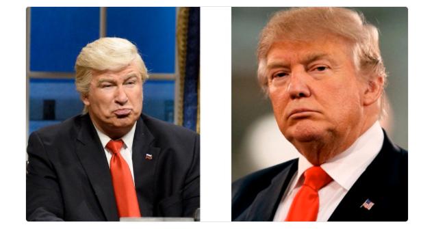 Дональд Трамп и Алек Болдуин в образе Дональда Трампа. Фото Официальный Twitter газеты @ElNacional_RD.