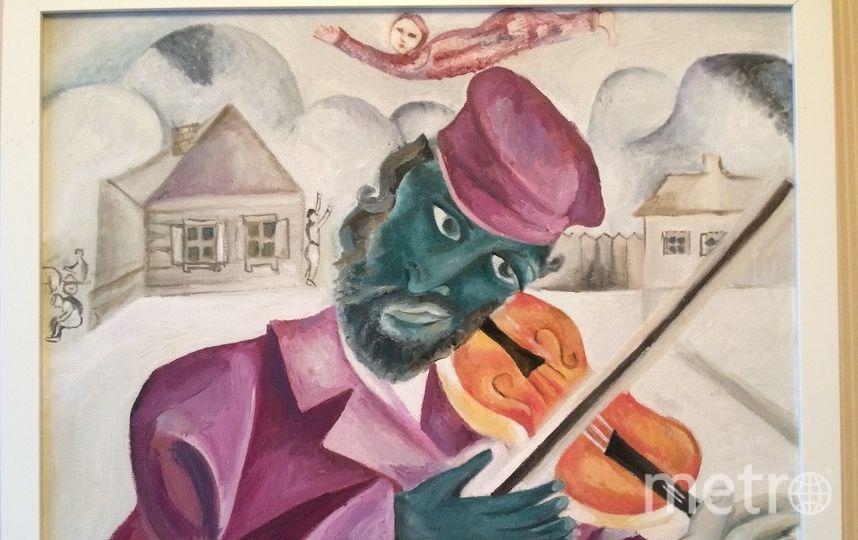 """Высылаю Вам фрагмент копии (маслом) моей любимой картины Марка Шагала """"Зеленый скрипач"""" 1923г. Получила огромное удовольствие от создания копии . """"Интенсив"""".. Фото Свиридова Евгения"""