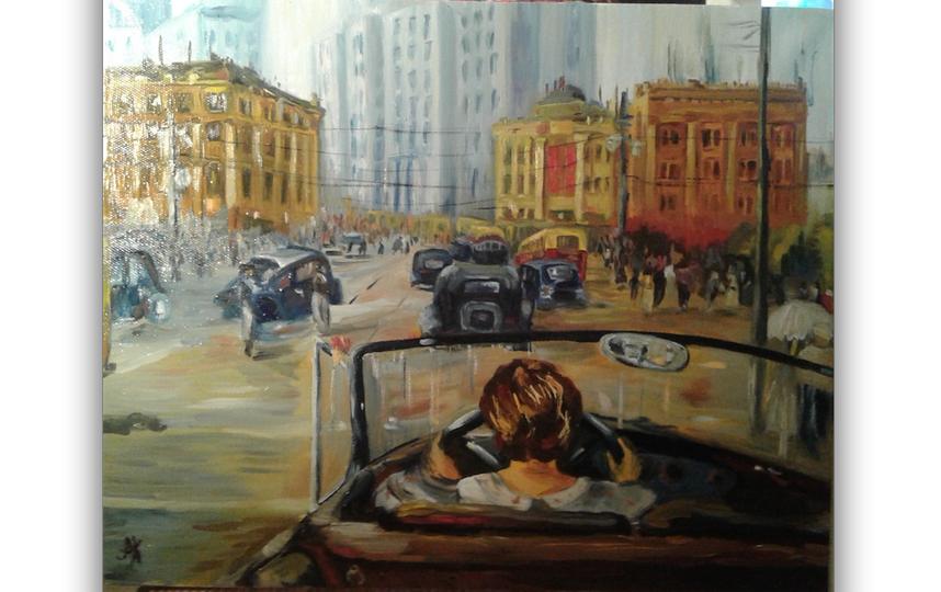 """Отправляю Вам на рассмотрение мою работу, копия с картины Ю.И. Пименова """"Новая Москва"""" 1937 года. Я не профессиональный художник, но родные довольны итогом и я процессом работы. Фото Купцова Анастасия"""