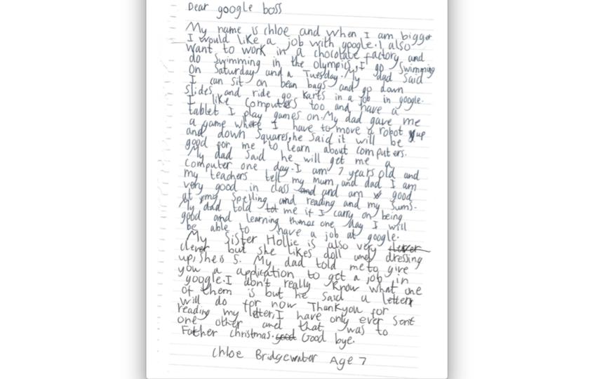 Письмо девочки. Фото Скриншот с сайта издания Business Insider.