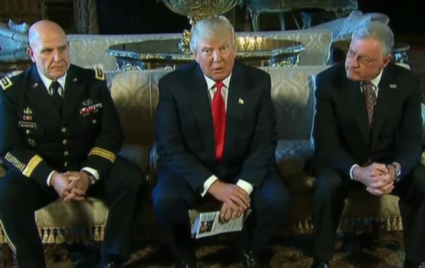 Дональд Трамп и Герберт Раймонд Макмастер. Фото Скриншот с YouTube канала France 24., Скриншот Youtube