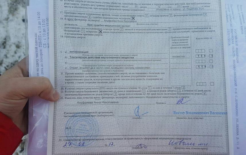 Свидетельство о смерти Елизаветы Желтовой.