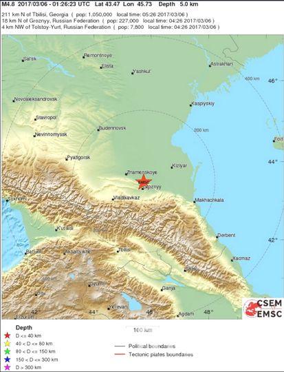 Сегодня, 6 марта, в Грозном было землетрясение. Фото vk.com