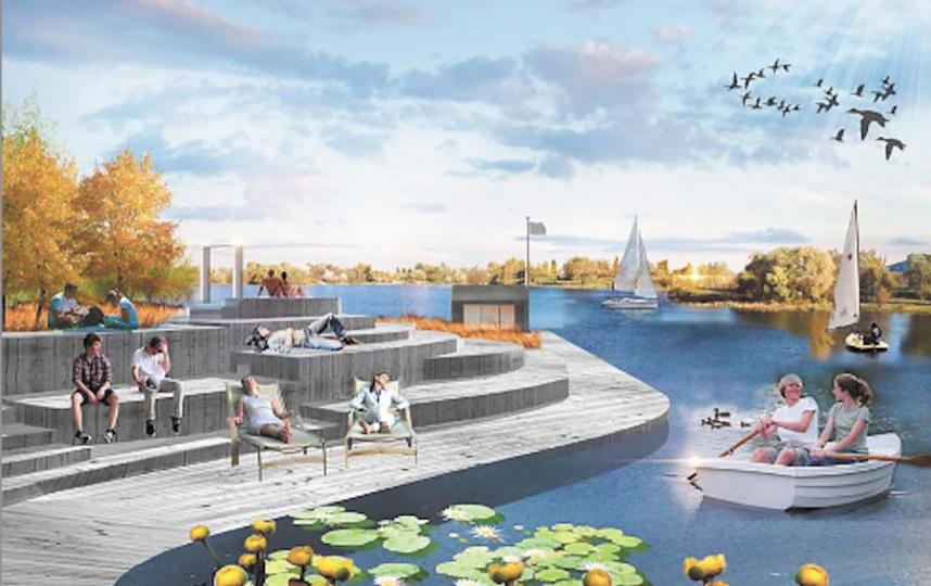 Зона отдыха у прудов в парке «Митино». Фото Изображение предоставлено архбюро Kleinewelt Architekten