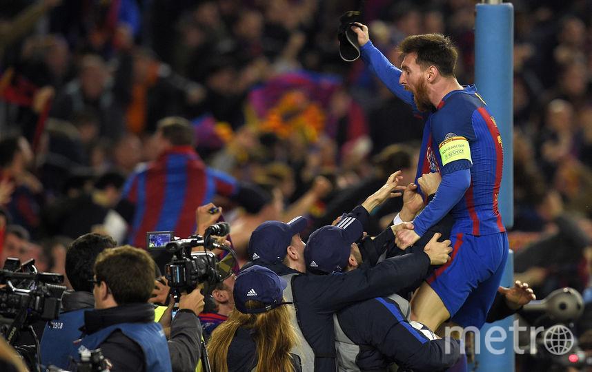 """Футболисты """"Барселоны"""" праздновали выход в четвертьфинал так, словно выиграли Лигу чемпионов. Фото AFP"""
