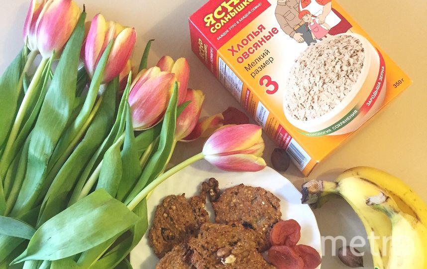 """Фото моего постного завтрака. Рецепт просто: 1банан + овсяные хлопья """"ясно солнышко""""+ по желанию орехи/сухофрукты. Все измельчаем и в духовку на 20-25 минут. Фото Григоркина Кристина Вячеславовна"""