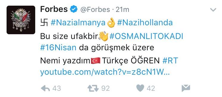 Взломанный аккаунт Forbes. Фото Скриншот из Twitter-аккаунта @Forbes.