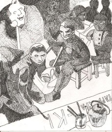 """Хочу предложить на конкурс свой вариант картины Серафимы Рянгиной """"Красноармейская студия изо"""", хоть Рянгиной и нет в вашем списке художников. Фото Эля Бережкова"""
