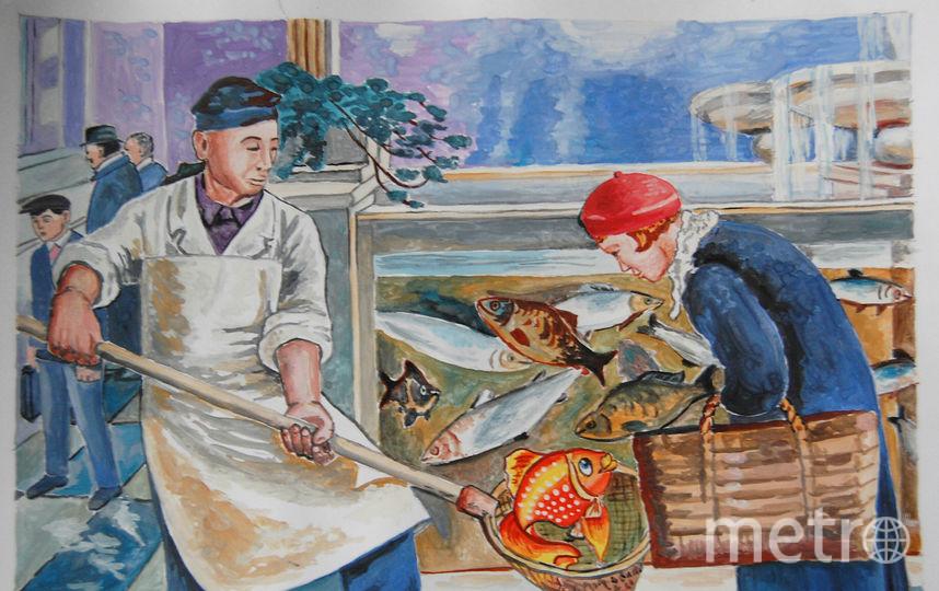 """Картина """"В рыбном магазине"""", автор Юлий Юлиевич Клевер (младший).Представляю Вам своё виденье картины. Фото София Жильцова"""