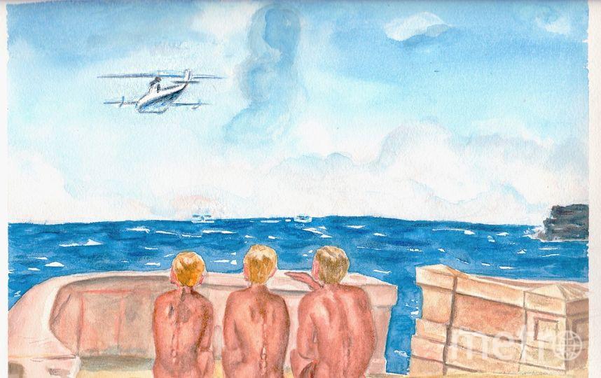 """Для конкурса газеты """"Metro"""" и Третьяковской галереи я скопировала картину А.А.Дейнеко """"Будущие лётчики"""", акварель, цветные карандаши, формат А4. Залитая солнцем набережная Севастополя и три мальчика наблюдающие и живо обсуждающие полет гидроплана. Это картина о предвкушении счастливого будущего. Но пройдёт всего 2 года и от мирного неба над головой не останется и следа, возможно эти же золотоволосые мальчики станут героями картины """"Оборона Севастополя"""", но это уже совсем другая история. Фото Крепостнова Светлана"""
