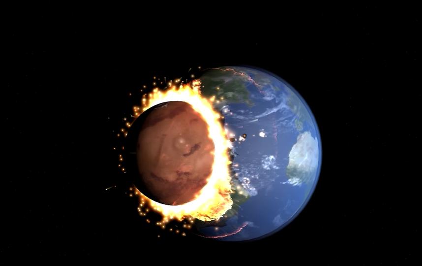 Столкновение Земли с Марсом. Конец света. Фото Скриншот Youtube