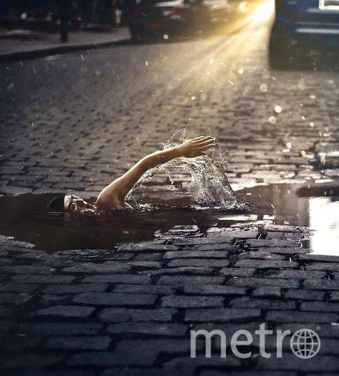 Пловец на улице. Фото предоставил Хусейн Сахин