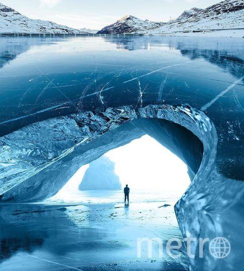 Человек во льдах. Фото предоставил Хусейн Сахин