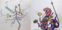 Художник из Токио превращает наброски своих сыновей в шедевры
