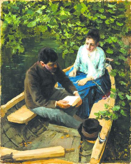 Художник Константин Коровин изобразил Веру Якунчикову в той же позе и на фоне того же пейзажа, что и на фотографии. Фото Предоставлены Третьяковской галереей.