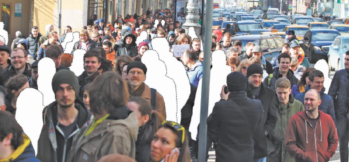 На фото шествие по Тверской 26 марта. Мы вырезали силуэты людей, которым по внешнему виду нельзя дать 18 лет. Фото Василий Кузьмичёнок