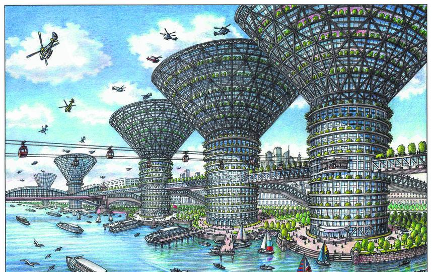 """Новый вид Бережсковской набережной в 2050 году. Фото Артур Скижали-Вейс, """"Metro"""""""
