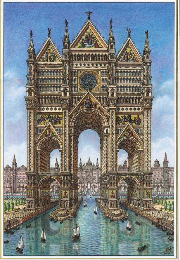 Кафедральный собор-небоскрёб на пересечении каналов города. Фото Артур Скижали-Вейс
